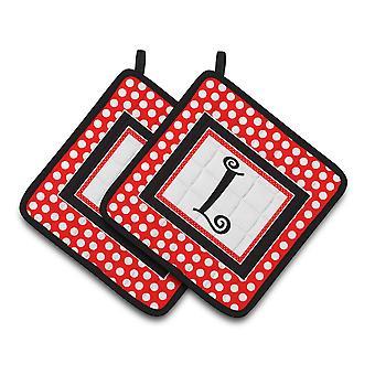 Bokstaven L innledende Monogram røde svarte prikker par grytekluter