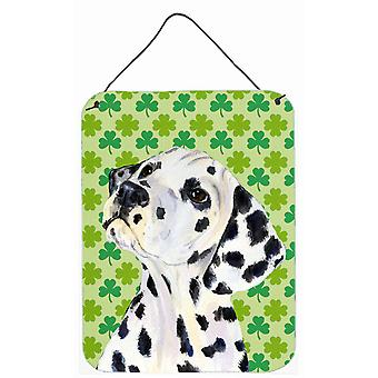 Dalmatiner St. Patricks Tag Shamrock Portrait Wand oder Tür hängen druckt