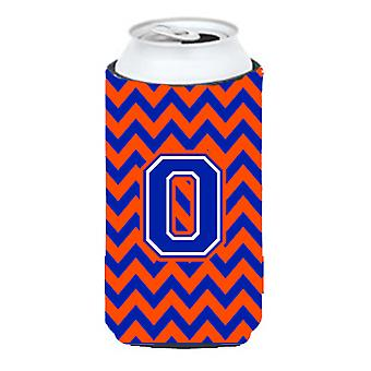 Letter O Chevron Orange and Blue Tall Boy Beverage Insulator Hugger