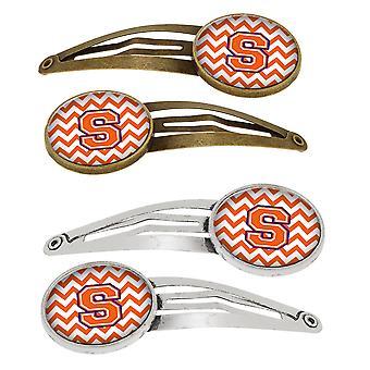 Letra S Chevron naranja y ajuar Set de 4 pinzas de pelo Barrettes