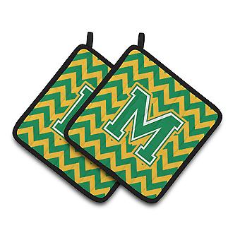 Letter M Chevron Green and Gold Pair of Pot Holders