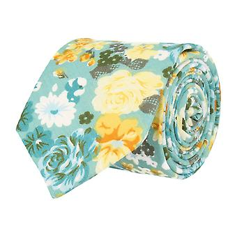 Mr. icone narrow tie Club tie light blue yellow floral