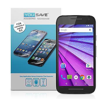 Yousave Motorola Moto G 3rd Gen protectores de pantalla - Pack 5