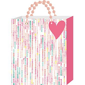 Gift Bag W/Pom Pom grepen & label 12