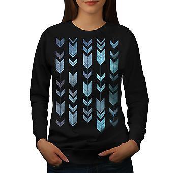 Arrow Cool Design Women BlackSweatshirt | Wellcoda