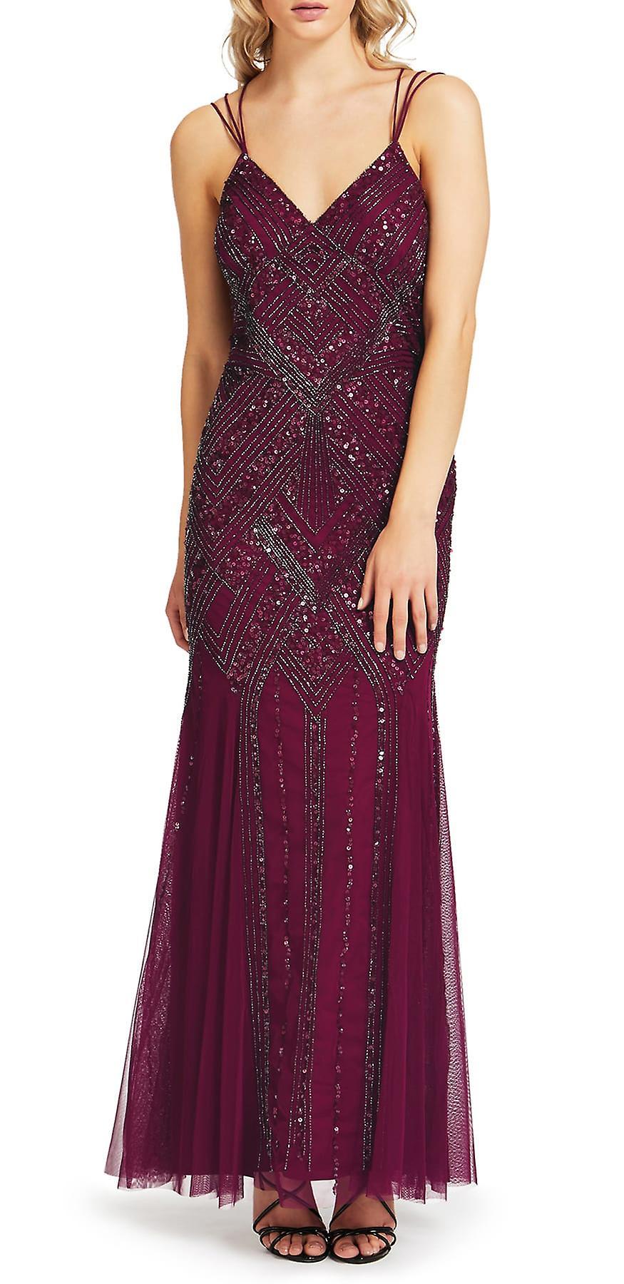 Ariella Beaded Chiffon 1920s Art Deco Strappy Evening Gown Maxi Prom ...