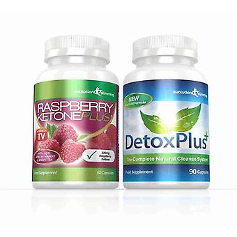 Raspberry Ketone Plus and Detox Colon Cleanse Combo Pack - 1 Month Supply - Fat Burner and Colon Cleansing - Evolution Slimming