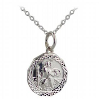 Silver 13x13mm dodecagonal diamond cut edge St Christopher Pendant with a rolo Chain 24 inches
