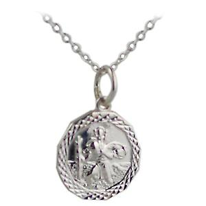Silver 13x13mm octagonal diamond cut edge St Christopher with Rolo chain