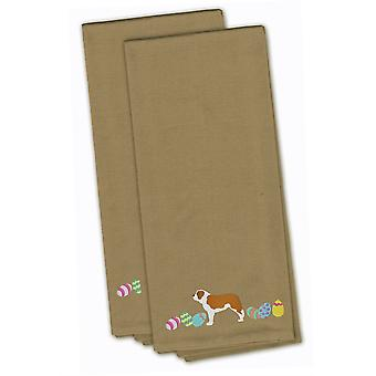 Saint Bernard Easter Tan Embroidered Kitchen Towel Set of 2