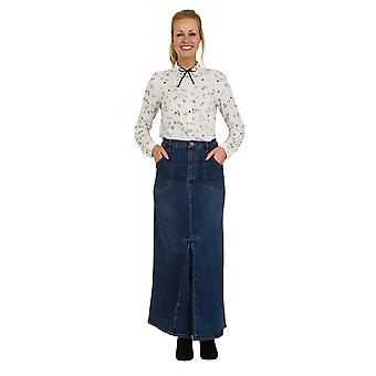 USKEES MARIA Maxi Denim Skirt - Midwash Full Length Skirt Front Pleat Size 10-22