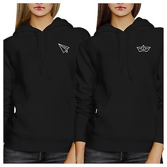 Origami Plane And Boat Black Unisex Matching Hoodies Pullover Top