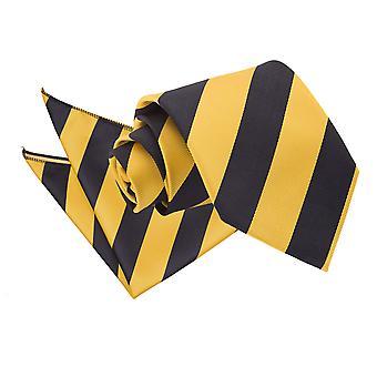 Gelbe & schwarz gestreifte Krawatte & Einstecktuch Satz