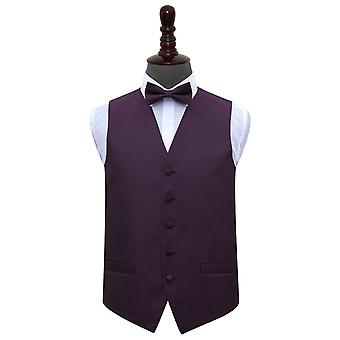 Cadbury Purple Greek Key Wedding Waistcoat & Bow Tie Set