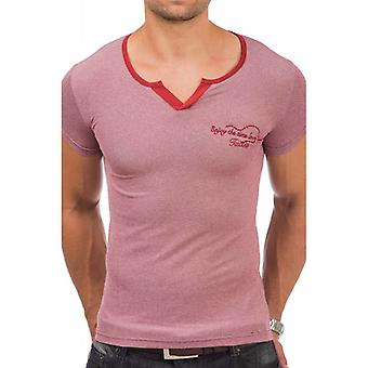 Tazzio fashion men's T-Shirt with V neck Red