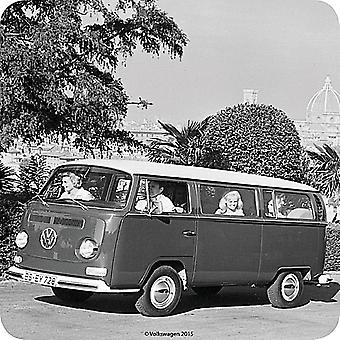 Vw Volkswagen Minibus B&W Cork Backed Drinks Coaster