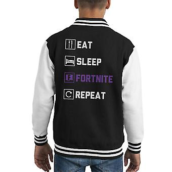 Eat Sleep Fortnite Repeat Purple Logo Kid's Varsity Jacket