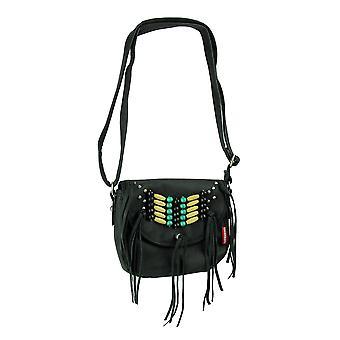 Boho Beads and Fringe Black Crossbody Handbag