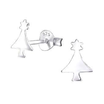 Christmas Tree - 925 Sterling Silver Plain Ear Studs - W22356X