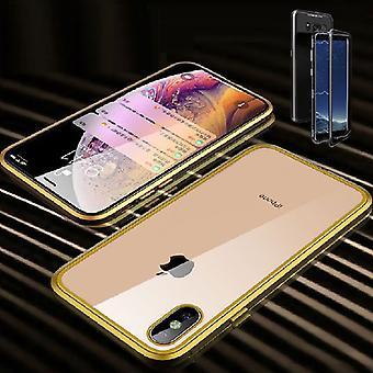 Für Apple iPhone X 10 XS 5.8 Magnet / Metall / Glas Case Bumper Gold / Transparent Tasche Hülle Neu