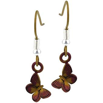 Ti2 Titanium Woodland Small Butterfly Drop Earrings - Brown