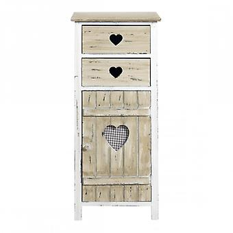 Mobile Shabby single door and 2 Drawers Beige with hearts-Mobile Re4415-Rebecca