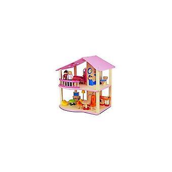 Pintoy Holz Puppenhaus rosa, meine erste Heimat + Design + 2 Puppen