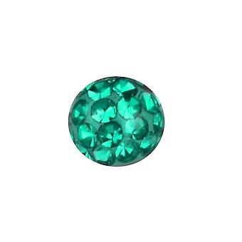 Piercing boule de rechange, bijoux de corps, cristal Multi pierres vert émeraude | 4, 5 et 6 mm
