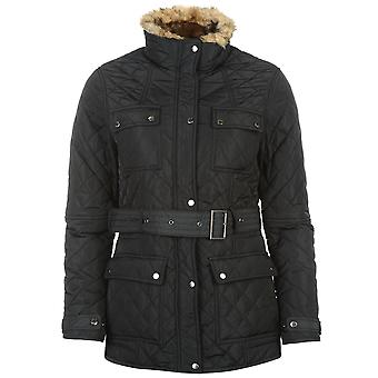 Firetrap Womens Blackseal Kingdom Jacket Quilted Coat Top High Neck Zip Chest