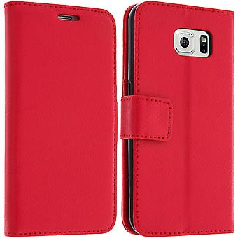 Flip wallet case, slim cover for Samsung Galaxy S6, silicone shell - Red
