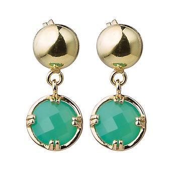 Gemshine ladies earrings with green chalcedony gemstones. 925 Silver or high quality gold plated - sustainable, quality jewelry made in Spain