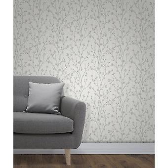 Elegante Twiggy Seitenwand graue Tapete Wanddekoration 0,52 x 10,05 m