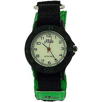 Relda Nite-Glo Quartz Luminous Dial Green & Black Easy Fasten Boys Watch REL55