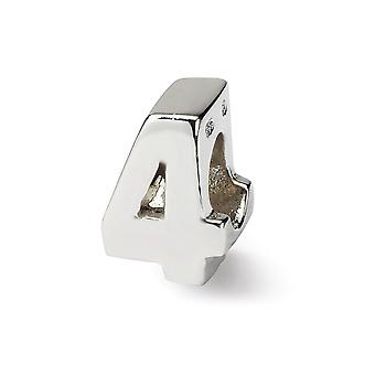 Sterling Silver Polished Reflections Number  Bead Charm - Number: 1 to 9