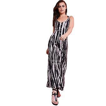 Lovemystyle Tie Dye Maxi Dress With Cross Back And Split Front