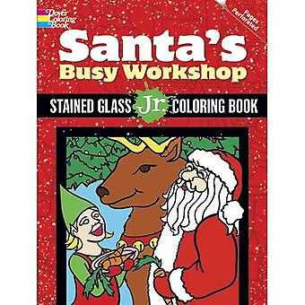Santa's Busy Workshop: Stained Glass Jr. Coloring Book
