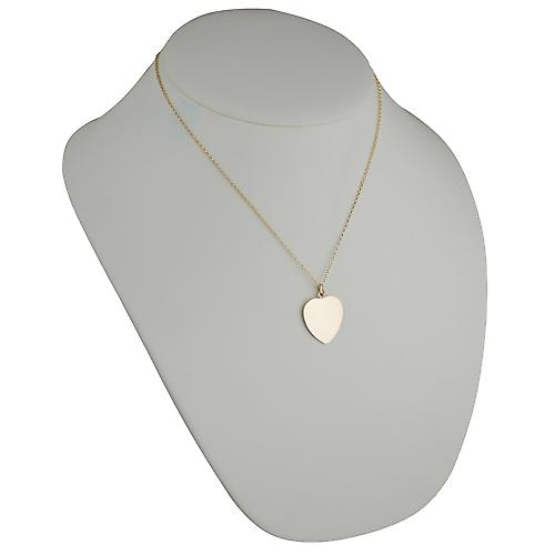 9ct Gold 24x21mm plain Heart disc with belcher Chain 18 inches