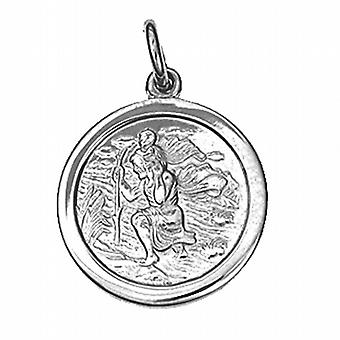Silver 20mm round St Christopher Pendant
