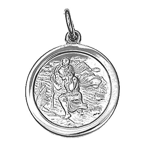 Silver 18mm round St Christopher