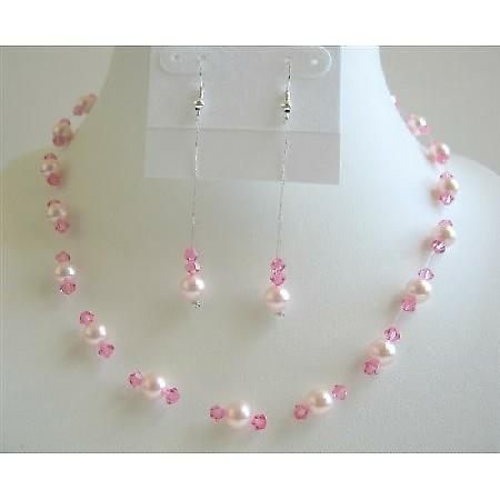 Rose Pink Pearls Necklace Set w/ Rose Pink Crystals Bridesmaid Wedding Jewelry Set