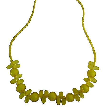 Looking For Girls Long Necklace In Yellow Beads