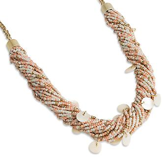 PEARLS FOR GIRLS chain fashionable ladies statement necklace with shells and beads pink/gold