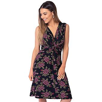 KRISP  Womens Floral Mini Dress V Neck Knot Front Pleated Ruched Sleeveless Summer