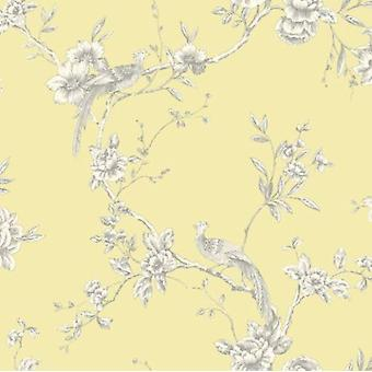 Arthouse Chinoise Yellow Peacock Birds Trees Floral Nature Feature Wallpaper