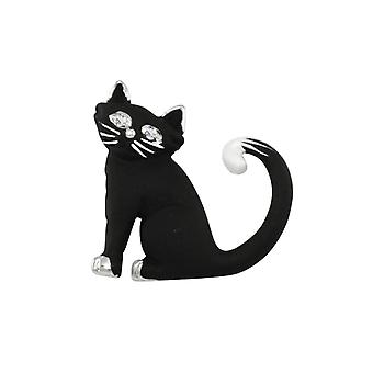 Eternal Collection Cornelius The Cat Black Enamel Silver Tone Brooch