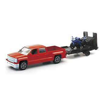 Chevrolet Silverado Die Cast Pick Up w/ Blue Motorcycle (1:43 Scale)