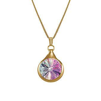Evige samling Rivoli Pink Vitrail østrigske Crystal guld Tone vedhæng halskæde
