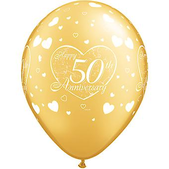Qualatex 11 Inch 50th Anniversary Gold Heart Pattern Latex Balloons (Pack Of 6)