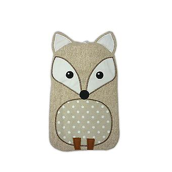 Beige Fox Tweed Applique Cover 1L Hot Water Bottle