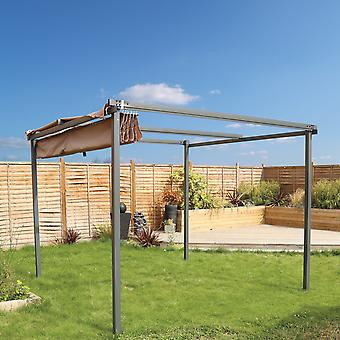 Charles Bentley Adjustable Canopy Gazebo Awning Shade - Protection Against Sun Outdoor in Grey - 3M X 3M